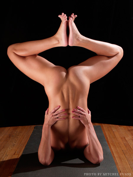 Nude Yoga Shoulderstand With A Bent Knee